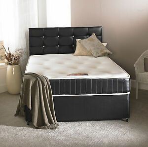 Image Is Loading 4ft Small Double Black Leather Bed Memory Mattress