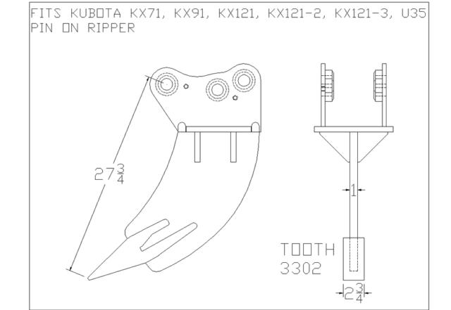 EXCAVATOR FROST RIPPER fits KUBOTA KX71, KX91, KX121, U35