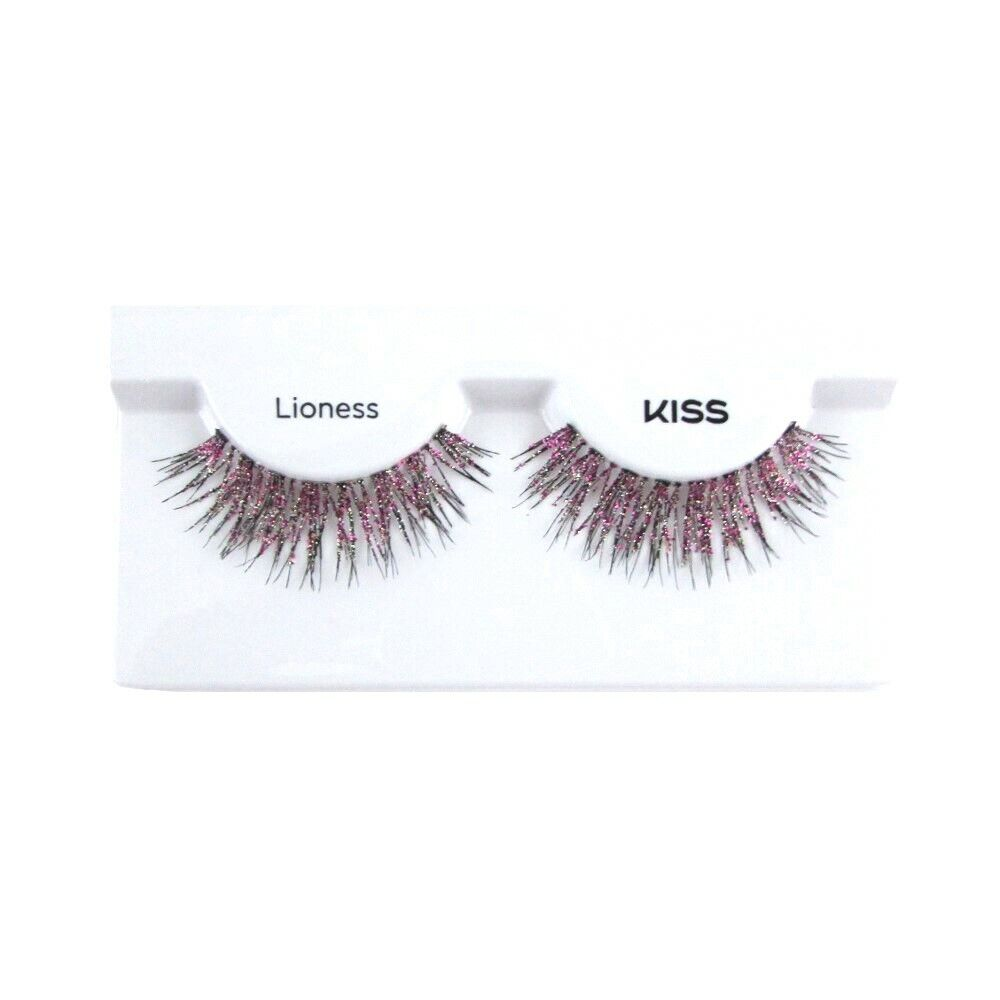 Kiss Spirit Animal Lioness False Eye Lashes Pink Glitter