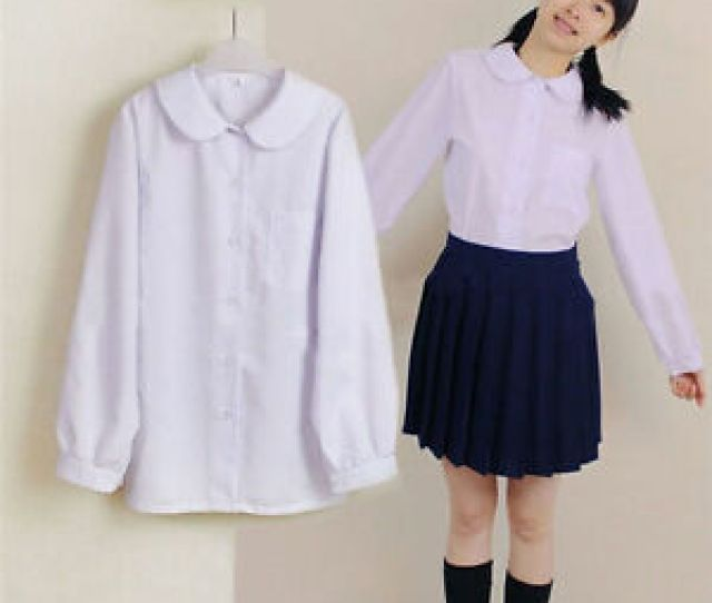 Image Is Loading Japanese School Uniform Lolita Girls Shirt Long Sleeve