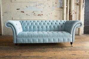 blue velvet chesterfield sofa french provincial sofas furniture modern handmade 3 seater dusty image is loading