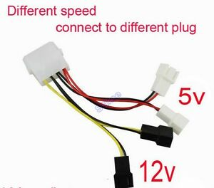 PC Fan 4Pin Convert to 2pin3pin (2x12V) (2x5V) Y