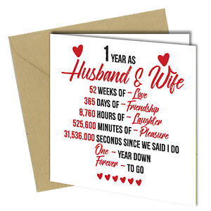 720 1st Wedding Anniversary Gift Him Her Quality Greeting Card Heart 6x6 Ebay