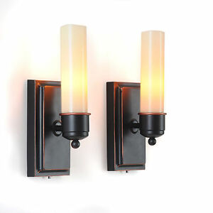 Flameless Indoor Candle LED Wall Sconces Sconce Set of 2
