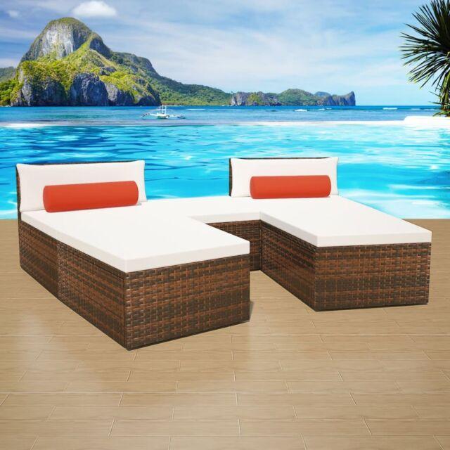 sofa lounger outdoor slipcovers online india vidaxl patio wicker rattan garden lounge sun bed 2 colors brown
