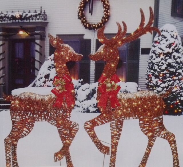 Deer Family Reindeer Display Outdoor