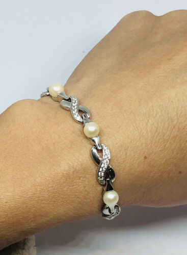 Dl 925 : Sterling, Silver, Natural, Pearl, Clear, Rhine…