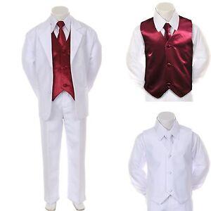 Boy Teen Formal Wedding Party Prom White Suit Tuxedo  Burgundy Vest Tie sz 814  eBay