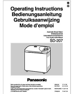 Panasonic SD207 Bread Machine Owners Manual User Guide