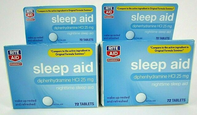 Rite Aid Nighttime Sleep Aid Diphenhydramine HCI 25mg 72 ...