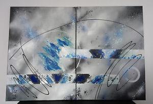 details sur tableau contemporain abstrait diptyque gris bleu blanc toile unique