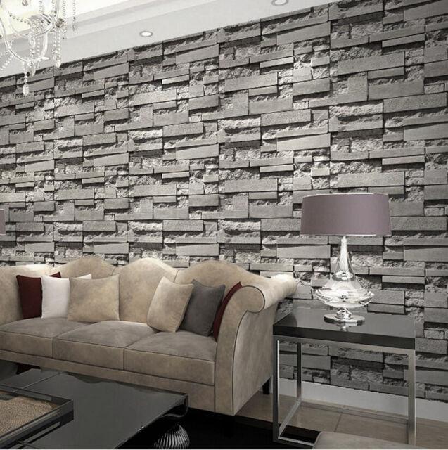 wall paper for living room best curtains modern retro 3d wallpaper bedroom slate dark grey brick effect stone sale online ebay