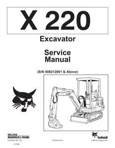 New Bobcat X 220 Excavator Repair Service Manual 1990