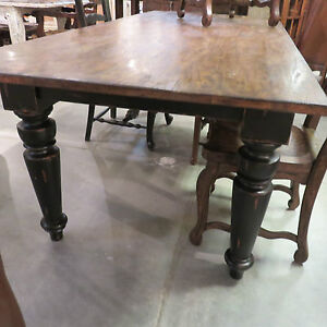72 Farmhouse Leg Dining Table Black Distressed Reclaimed