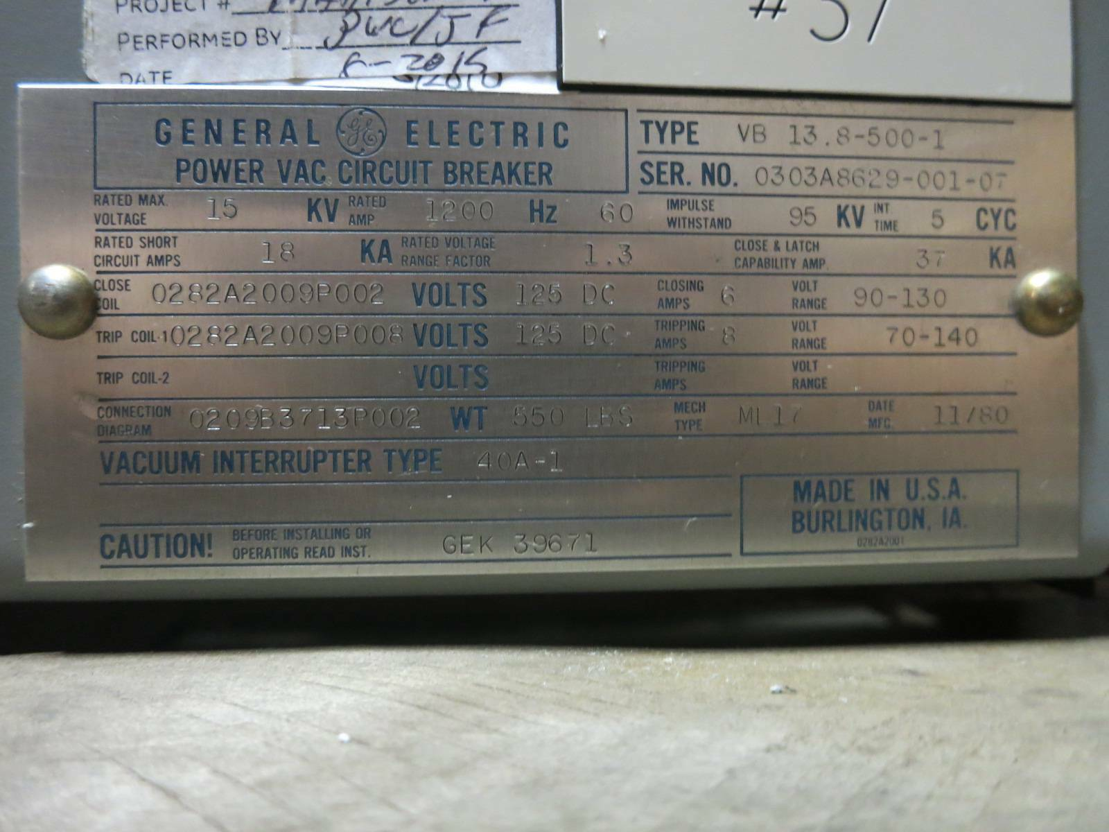 hight resolution of ge power vac 1200a vb 13 8 500 1 15 kv vacuum breaker general electric powervac for sale online ebay