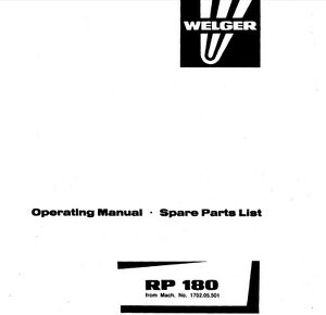 Welger RP180 Baler Parts Manual (PDF file) SPARE PARTS