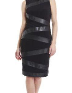 Image is loading joseph ribkoff solid black banded leatherette sheath dress also us rh ebay