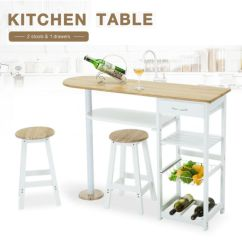 Kitchen Island Stool Building A Cabinet Oak White Cart Trolley Dining Table Storage 2 Bar W Stools Drawers