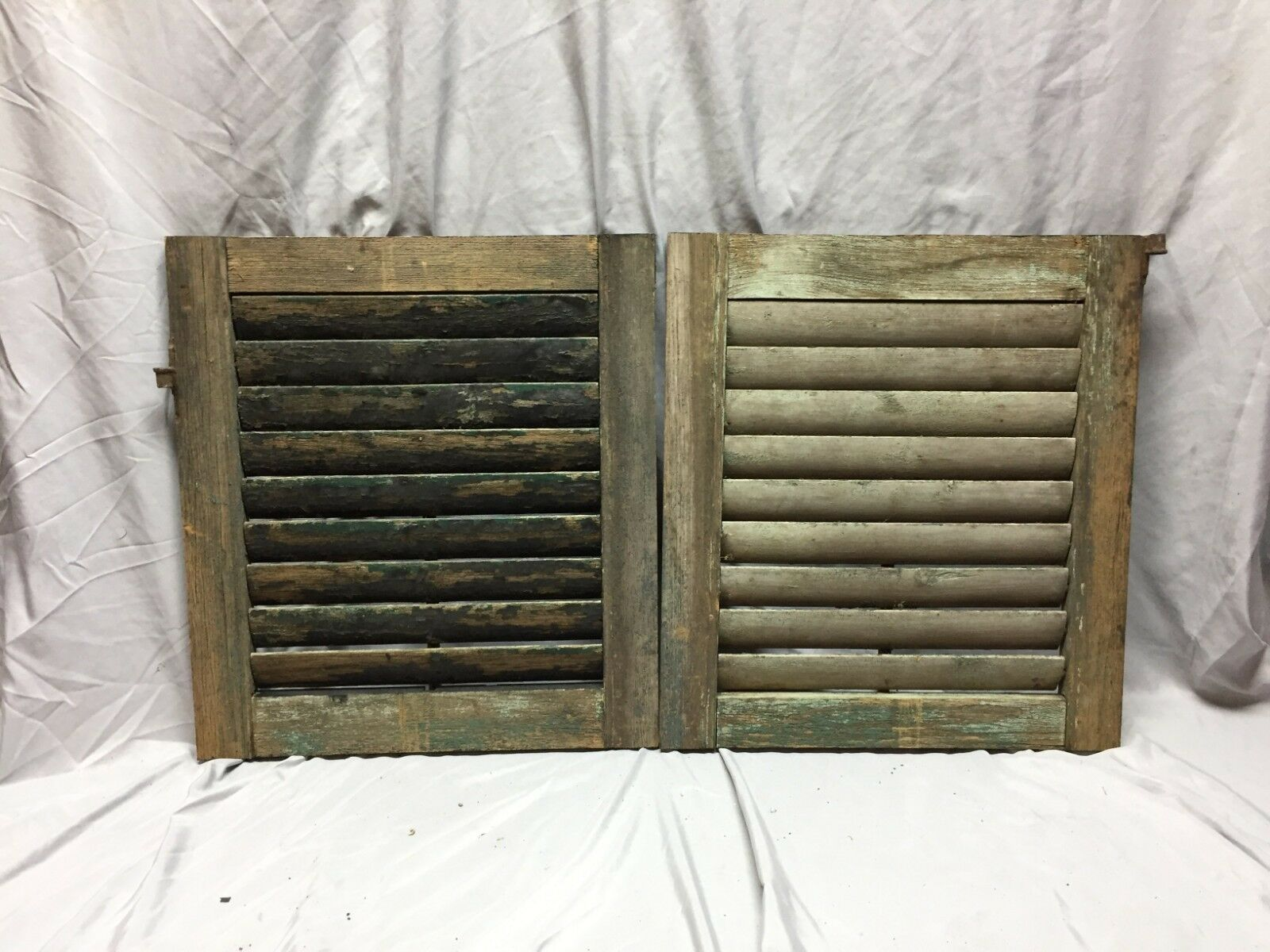 Small Pair Antique House Window Wood Louvered Shutters 19x21