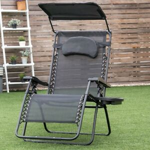 chair with shade canopy slide under tray table garden folding recliner lounge w cup holder image is loading