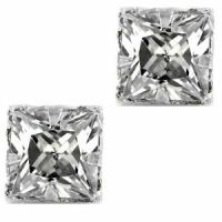 Pierced Clear Square Sparkling CZ Cubic Zirconia Stud ...