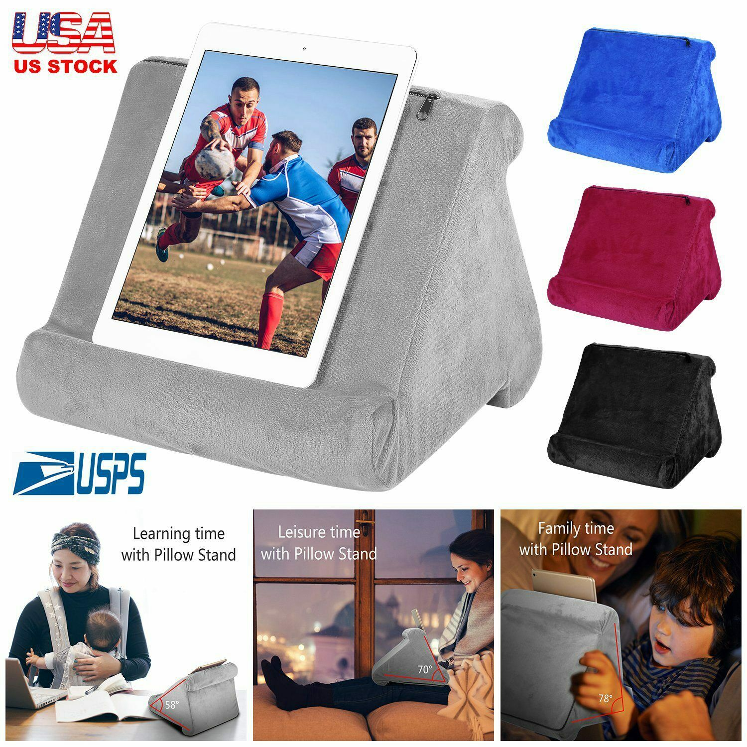 Blue Black Tablet Pillow Stand Holder For Ipad Bed Lap Reading Cushion For Sale Online Ebay