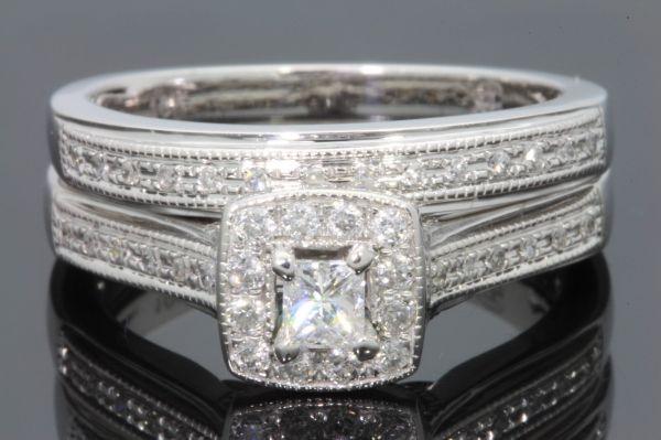 10k White Gold .50 Carat Princess Cut Diamond Engagement Ring Wedding Band Set
