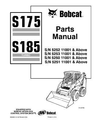 New Bobcat S175 S185 Parts Manual, 6902826 FREE SHIPPING