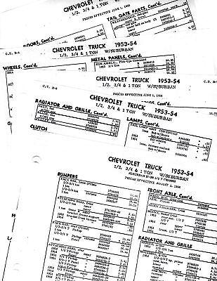 1947 1948 1949 1950 1951 1952 CHEVROLET TRUCKS PART LISTS