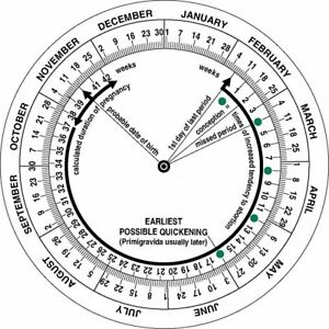 Pregnancy Due Date Calculator Obstetric Wheel, Nurses