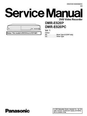 Panasonic DMR-ES20 ES20P ES20PC DVD Recorder Service