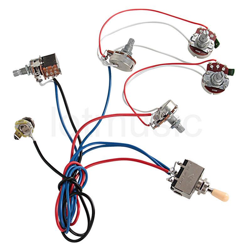 Style Input Jack Wiring Fender Electric Guitar Wiring Harness Kit 2v2t Pot Jack 3 Way