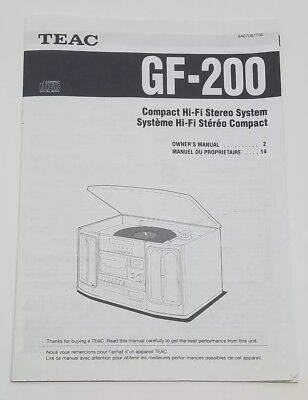 Teac GF-200 Original Owners Manual Booklet Hi-Fi Stereo