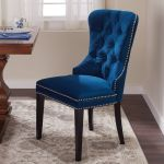 Dark Blue Dining Chair Button Tufted High Back Silver Nailhead Trim Poly Velvet For Sale Online