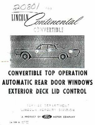 OEM Wiring Schematics Lincoln Convertible Top & Rear