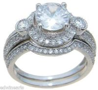 Top Quality 3.50 Ct Halo Cubic Zirconia Wedding Ring Set