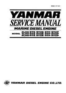 YANMAR 4LHA MARINE DIESEL ENGINE SERVICE MANUAL REPRINTED