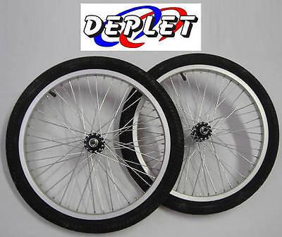 lot de 2 roues avant bmx 20 pouces dirt jante pneu chambre a air velo neuf