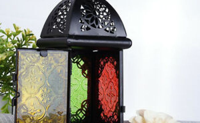 Metal Glass Moroccan Lantern Candle Style Holder Metal