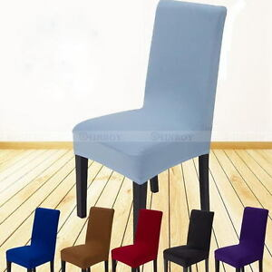 stretch dining chair covers blue high back chairs protector slipcover decor spandex image is loading