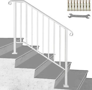 Wrought Iron Handrail Picket 3 Fits 3 Or 4 Steps Outdoor Steps   Iron Handrails For Outdoor Steps   Antique   Deck   Front Door   Entrance   Ornamental