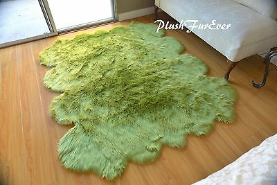 60 X 72 Olive Green Sheepskin Area Rug Acrylics Suede Imitate Accents Rugs 639725422837 Ebay