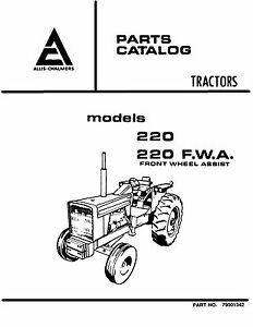 Allis Chalmers 220 Tractor Parts and Service Catalog Book