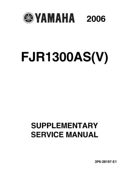 Yamaha supplementary service manual 2006 FJR1300