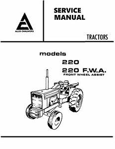 Allis Chalmers 220 Tractor Service Manual Book