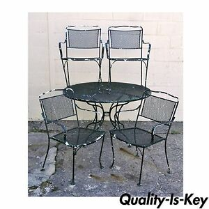 Vintage Wrought Iron Outdoor Patio Dining Set Table 4