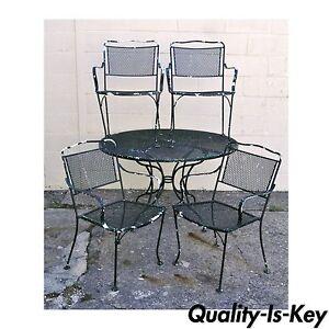 wrought iron patio furniture dining sets Vintage Wrought Iron Outdoor Patio Dining Set Table 4 Chairs Meadowcraft Woodard | eBay
