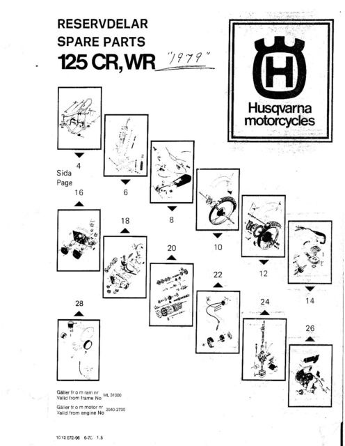Husqvarna Parts Manual Book 1979 125 CR, 125 WR, 250 WR