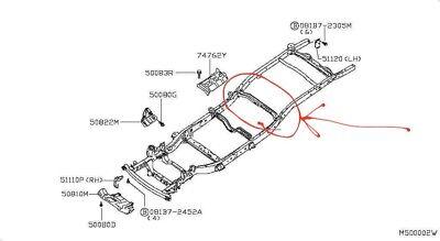 Nissan Navara D40 Chassis Cross Member Rear Fuel Tank Weld