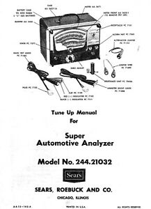 Sears Penske Automotive Analyzer Owners Manual Model 244